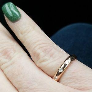 Jewelry - Rose gold diamond ring. 14k. 3 small diamonds.